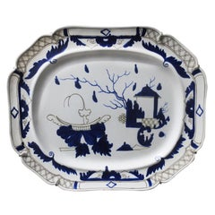 Large 19th Century English Blue and White Porcelain Platter
