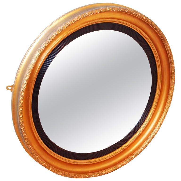 Large 19th Century English Circular Gilt Mirror