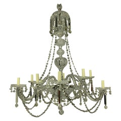 Large 19th Century English Cut-Glass Chandelier of Good Quality