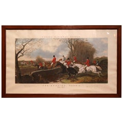 """Large 19th Century English Framed Watercolor Fox Hunt Scene """"The Hill"""", 1852"""