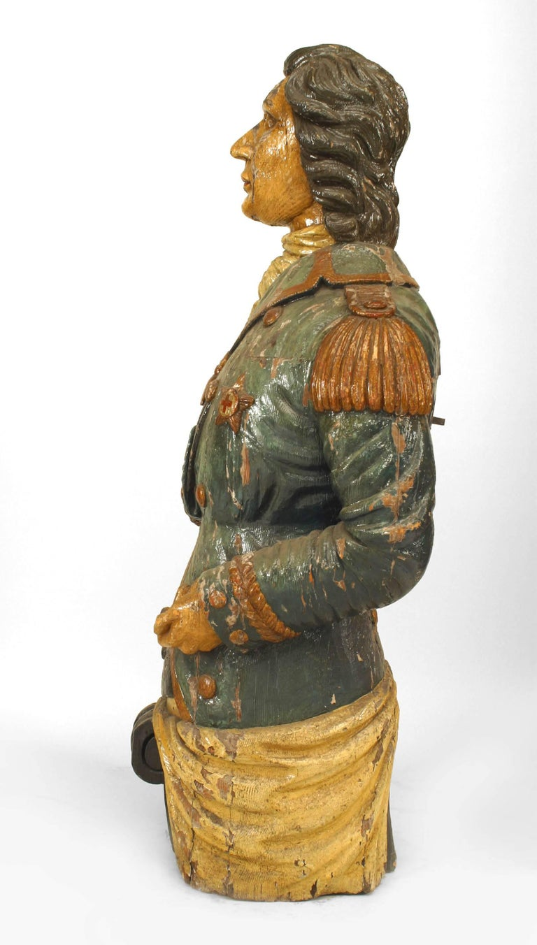 Large 19th Century English Lord Nelson Figurehead In Good Condition For Sale In New York, NY