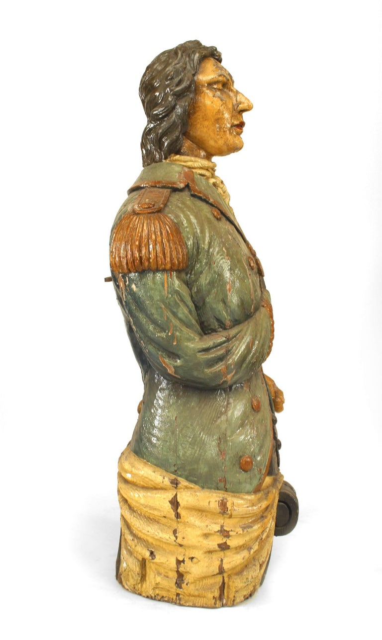 Wood Large 19th Century English Lord Nelson Figurehead For Sale