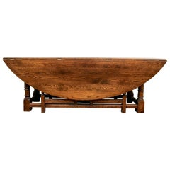Large 19th Century English Oak Drop-Leaf Gate-Leg Dining Table
