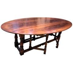 Large English Oak Gateleg Dining Table Seats Eight to Ten