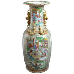 Large 19th Century Famille Rose Soldier Vase
