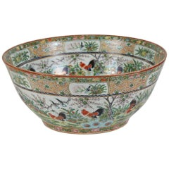 Large 19th Century Famille Verte Chinese Export Porcelain Punch Bowl