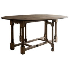 Large 19th Century Flemish Oval Drop-Leaf Dining Table of Great Proportions