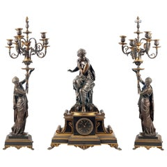 Large 19th Century, French Bronze Clock Set by H. Dumaige