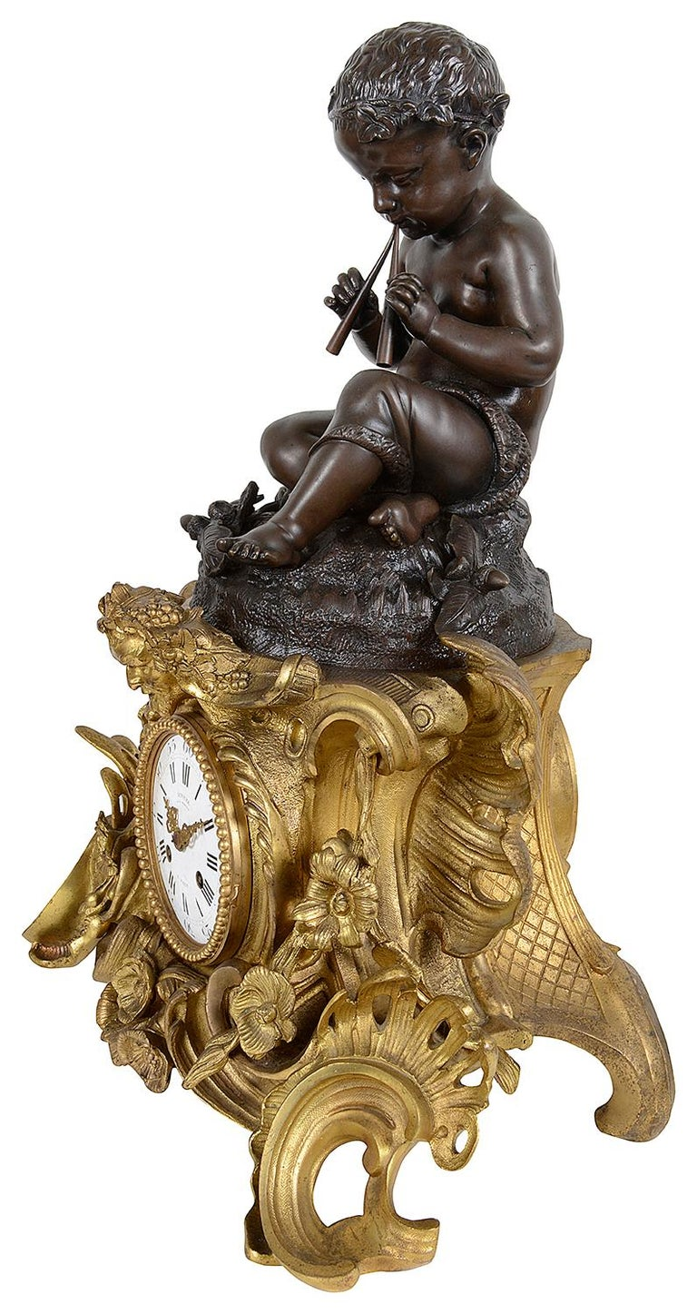 Large 19th Century French Bronze Clock Set For Sale 5