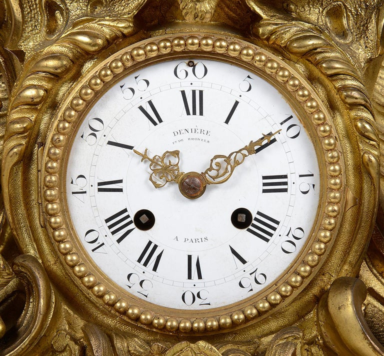 Gilt Large 19th Century French Bronze Clock Set For Sale