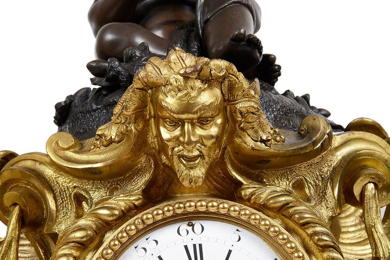 Large 19th Century French Bronze Clock Set In Good Condition For Sale In Brighton, Sussex