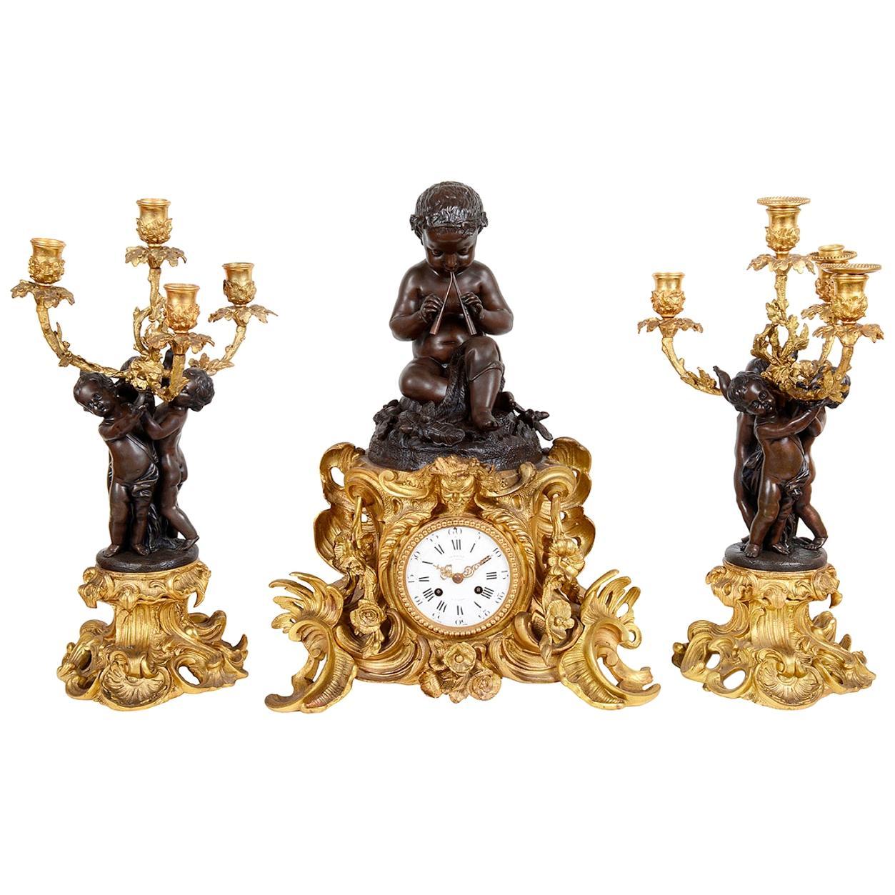 Large 19th Century French Bronze Clock Set