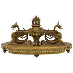 Large 19th Century French Bronze Inkwell with Dragons