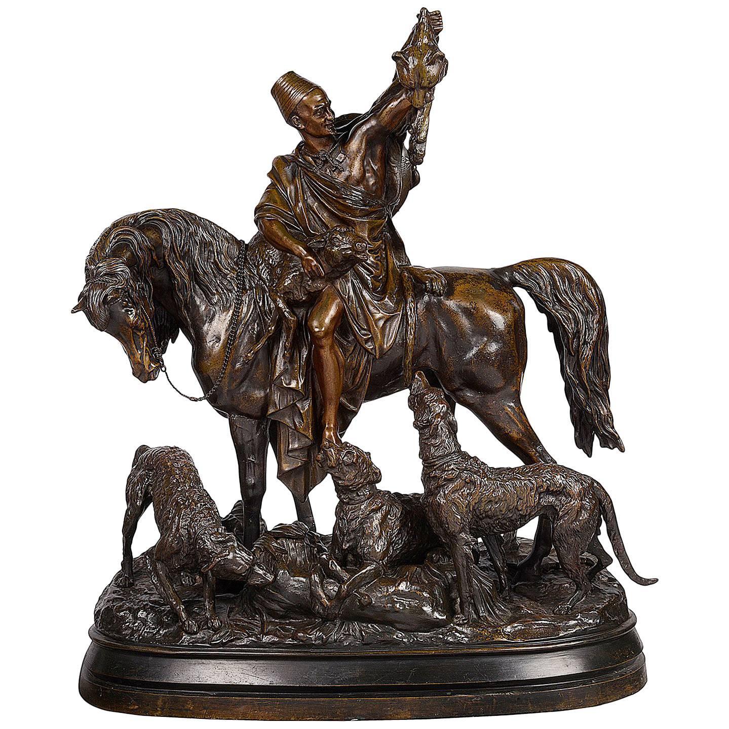 Large 19th Century French Bronze of Arab Hunter