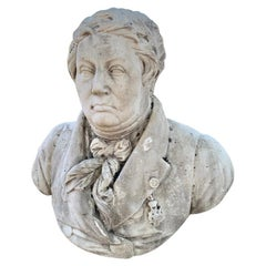 Large 19th Century French Carrara Marble Bust of a Gentleman
