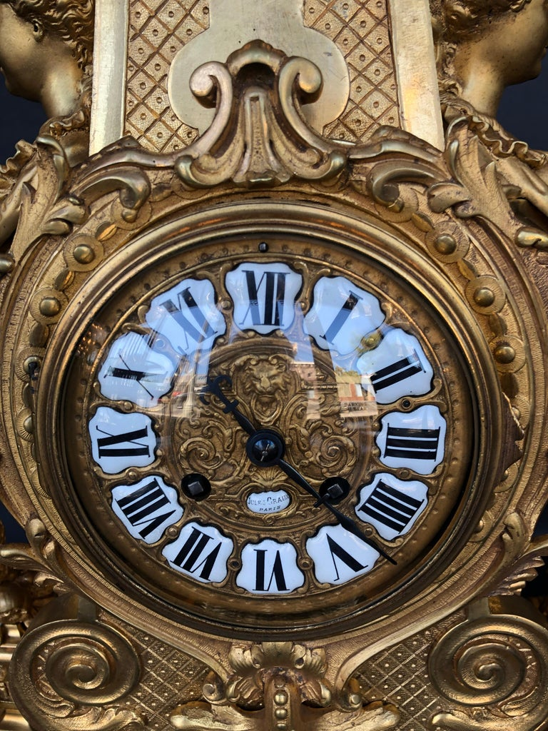 Large 19th Century French Doré Bronze Mantel Clock In Good Condition For Sale In Los Angeles, CA
