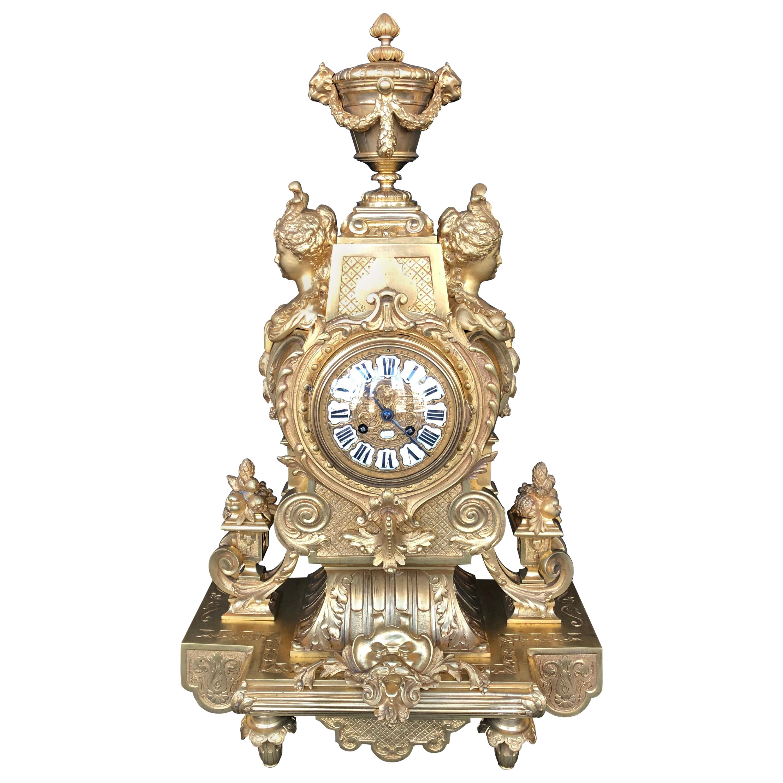 Large 19th Century French Doré Bronze Mantel Clock