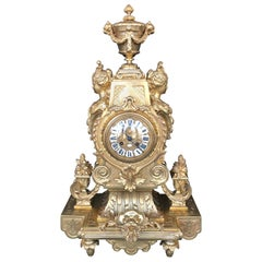 Large 19th Century French Doré Bronze Mantel Clock