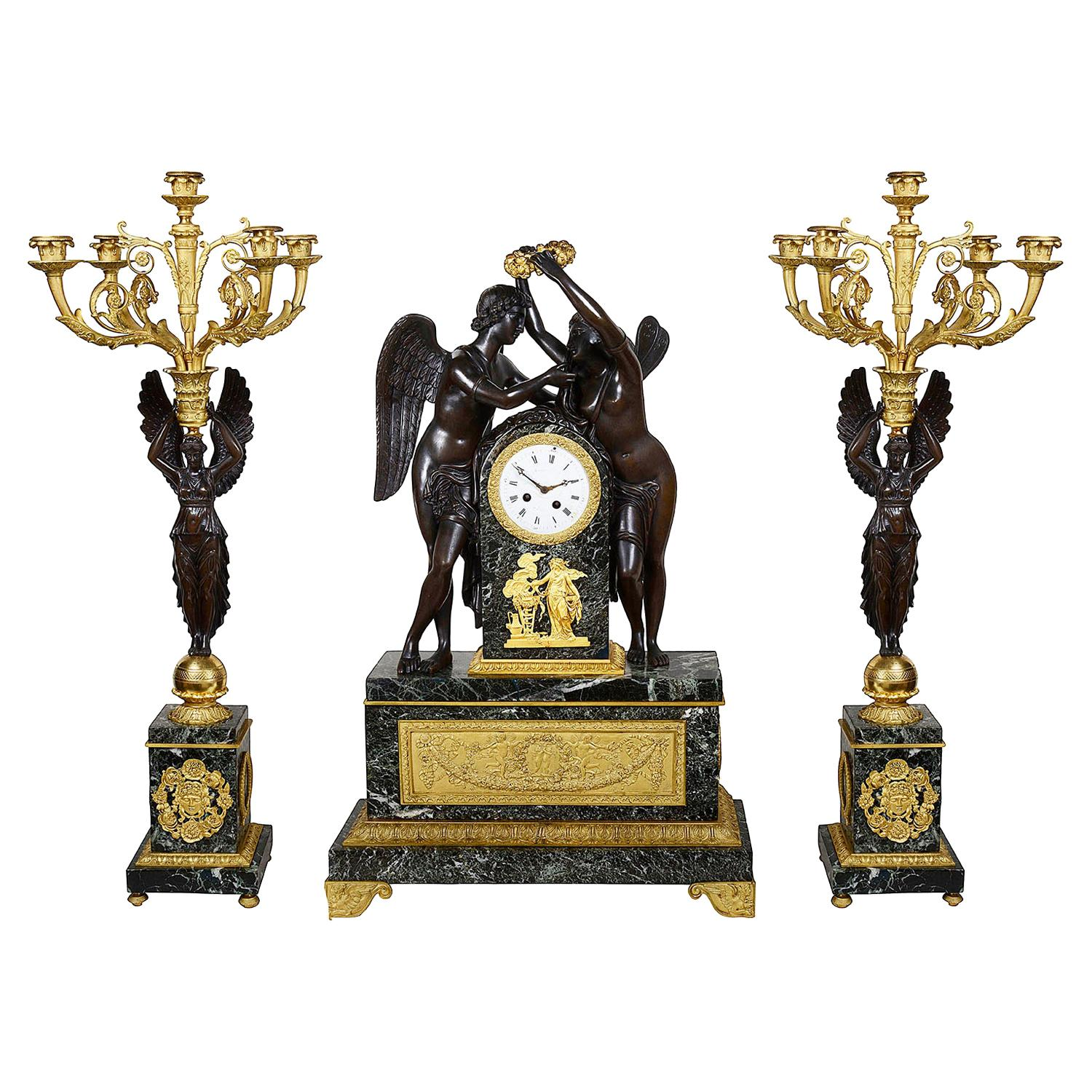 Large 19th Century French Empire Style Clock Set