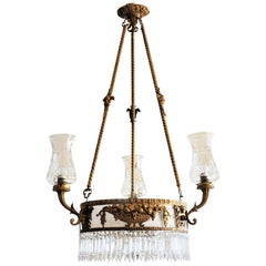 Large 19th Century French Empire Style Dóre Bronze Crystal Six-Light Chandelier