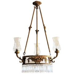 Large 19th Century French Empire Style Dore Bronze Crystal Six-Light Chandelier