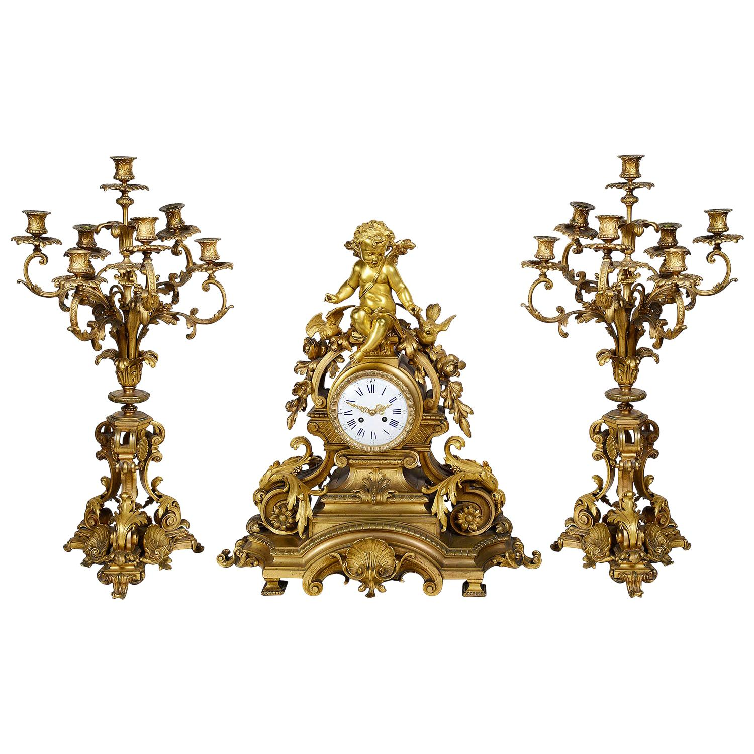 Large 19th Century French Gilded Clock Set