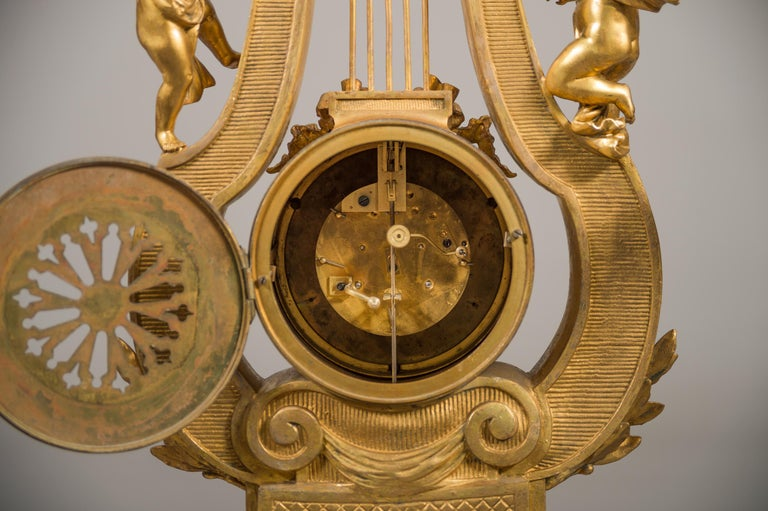Large 19th Century French Gilt Bronze and Marble Lyre Shaped Clock Garniture For Sale 6