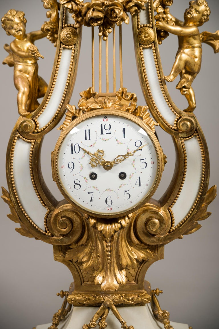 Large 19th Century French Gilt Bronze and Marble Lyre Shaped Clock Garniture In Good Condition For Sale In Los Angeles, CA
