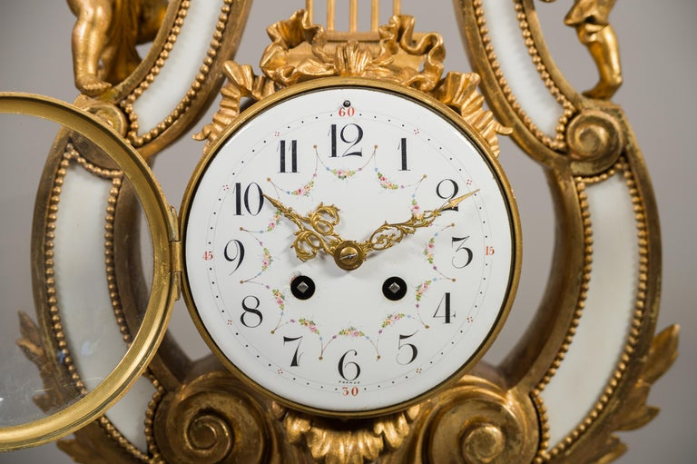 Large 19th Century French Gilt Bronze and Marble Lyre Shaped Clock Garniture For Sale 3