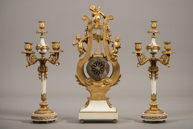 Large 19th Century French Gilt Bronze and Marble Lyre Shaped Clock Garniture For Sale 4