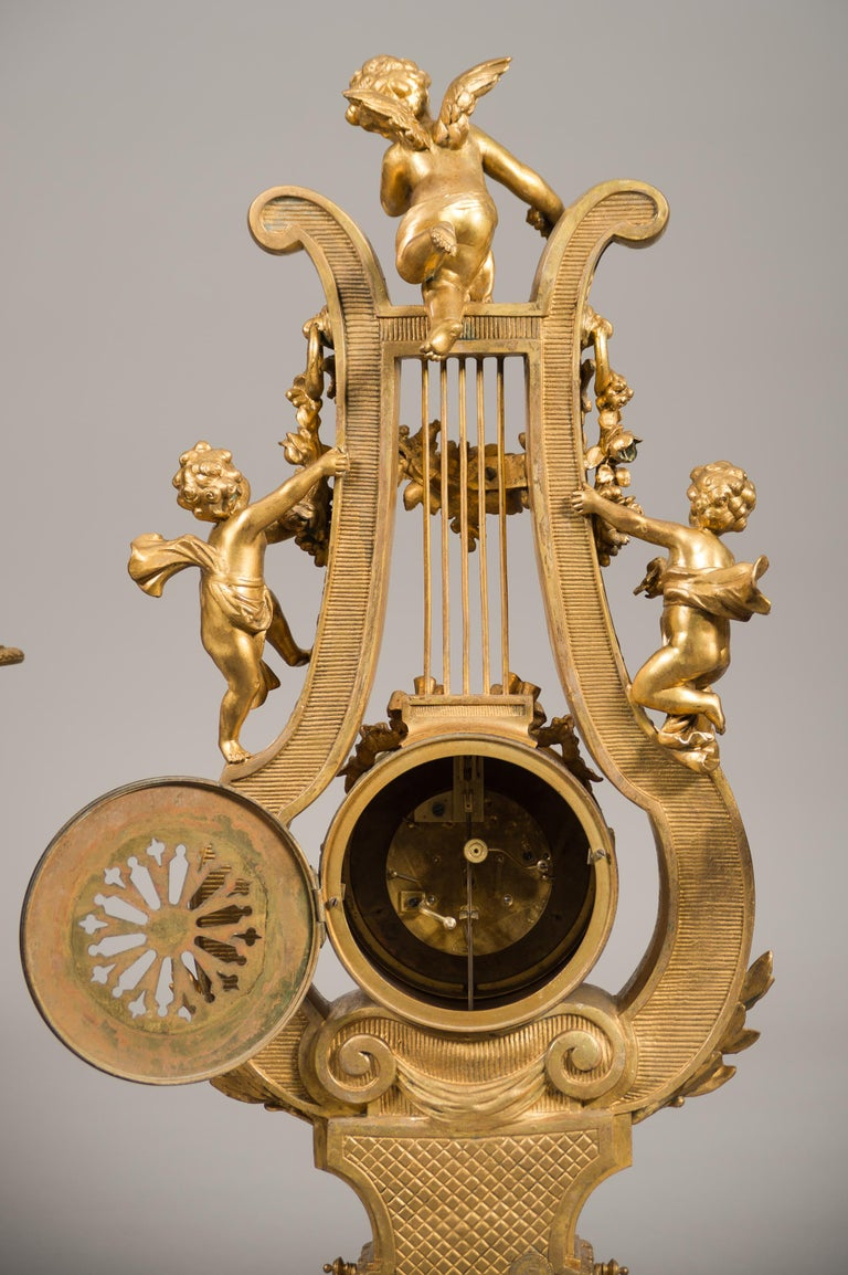Large 19th Century French Gilt Bronze and Marble Lyre Shaped Clock Garniture For Sale 5