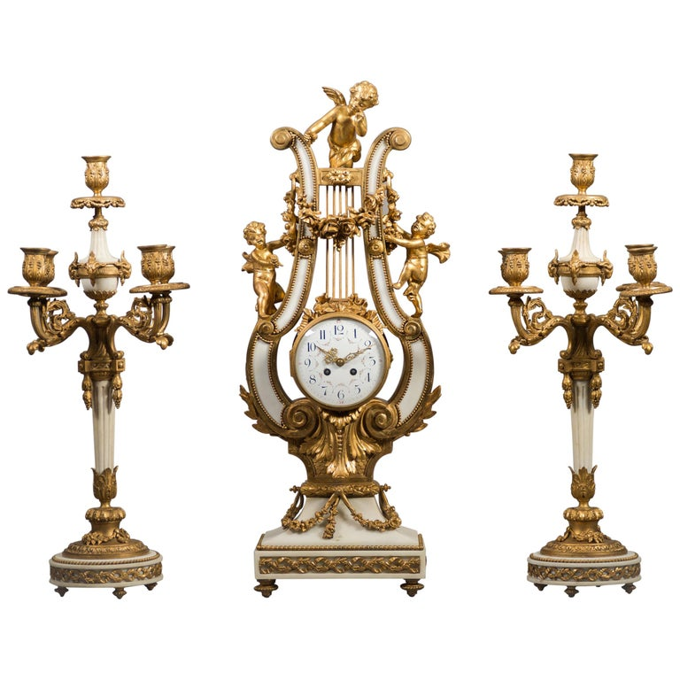 Large 19th Century French Gilt Bronze and Marble Lyre Shaped Clock Garniture For Sale