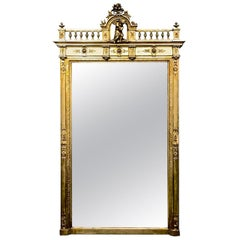 Large 19th Century French Gilt Mirror with Carved Putti