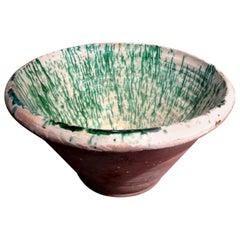 Large 19th Century French Glazed Terracotta Bowl