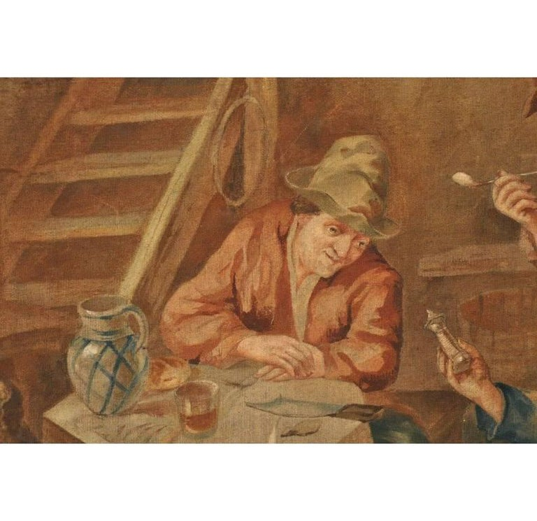 19th Century French Hand Painted Canvas on Stretcher After David Teniers For Sale 2