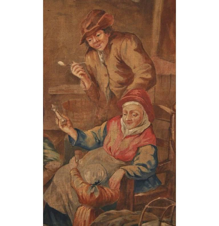 19th Century French Hand Painted Canvas on Stretcher After David Teniers For Sale 3