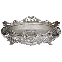 Large 19th Century French Louis XV Oval Silver Plated Jardinière with Zinc Liner