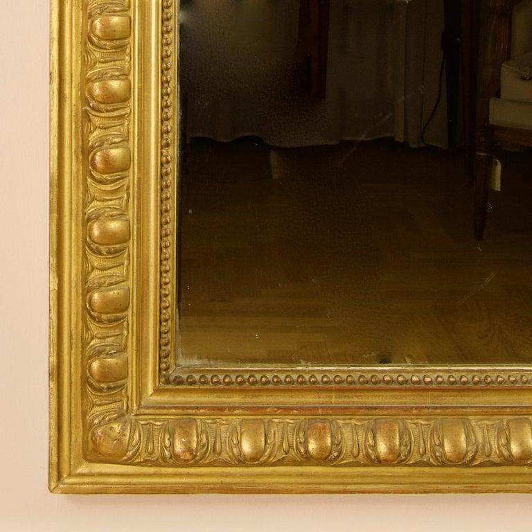 Wood Large 19th Century French Louis XVI Napoleon III Giltwood Wall Mirror For Sale