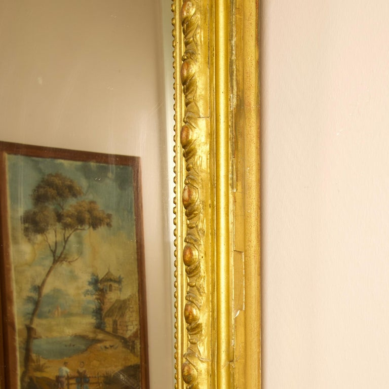 Large 19th Century French Louis XVI Napoleon III Giltwood Wall Mirror For Sale 1