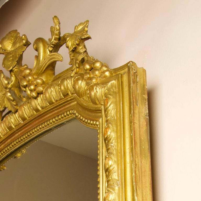 Large 19th Century French Louis XVI Napoleon III Giltwood Wall Mirror For Sale 2
