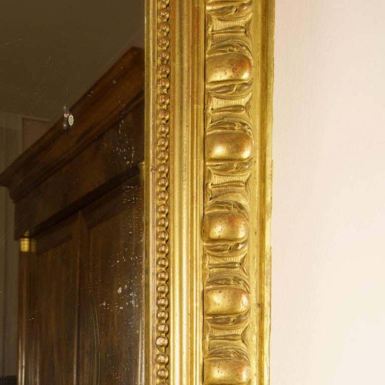 Large 19th Century French Louis XVI Napoleon III Giltwood Wall Mirror For Sale 3