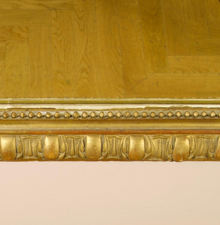 Large 19th Century French Louis XVI Napoleon III Giltwood Wall Mirror For Sale 4