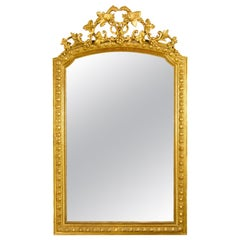 Large 19th Century French Louis XVI Napoleon III Giltwood Wall Mirror