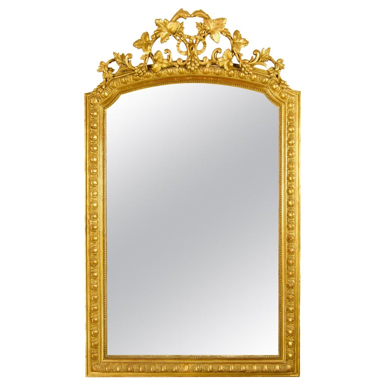 Large 19th Century French Louis XVI Napoleon III Giltwood Wall Mirror For Sale