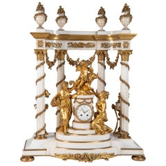 Large 19th Century French Marble and Ormolu Mantel Clock