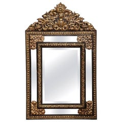 Large 19th Century French Napoleon III Repoussé Copper Overlay Mirror
