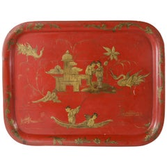 Large 19th Century French Napoleon III Period Red Tole Tray with Chinoiserie