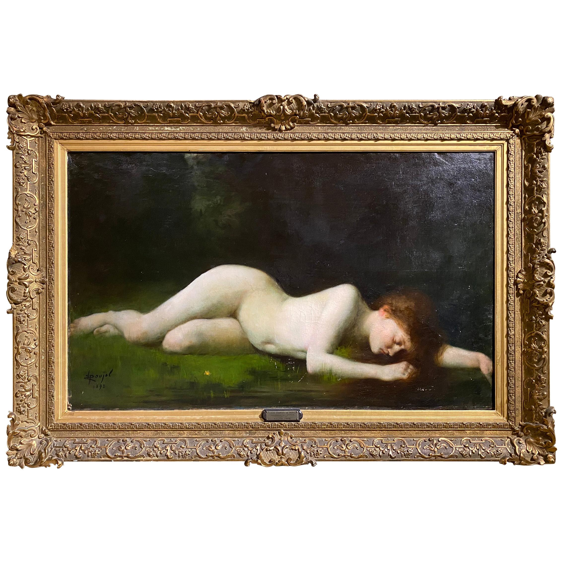 Large 19th Century French Oil/Canvas Titled 'Byblis' by Pierre Poujol