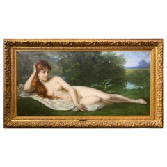 Large 19th Century French Oil on Canvas Nude by Leon Erpikum