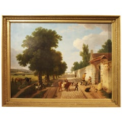"""Large 19th Century French Oil Painting in Giltwood Frame, """"Le Retour a La Ferme"""""""